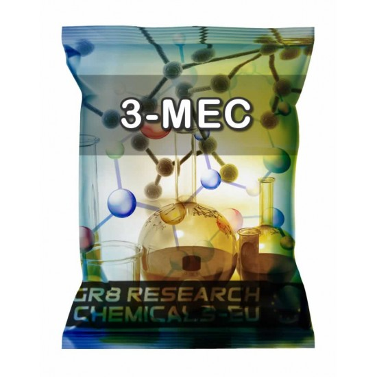 Package containing 3-MEC that is available to buy, and also showing the chemical formula