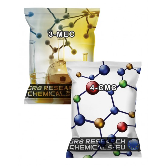 Package containing 3-MEC and 4-CMC Combo Pack that is available to buy, and also showing the chemical formula