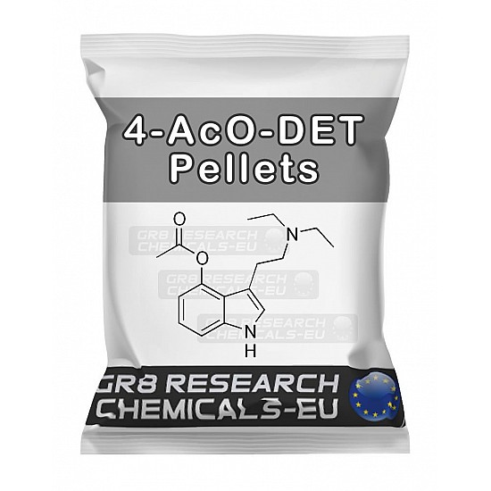 Package containing 4-AcO-DET 20mg Pellets research chemical