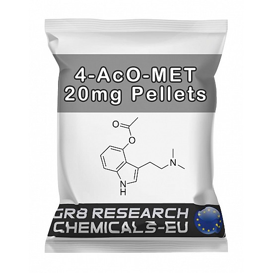 Package containing 4-AcO-MET 20mg Pellets research chemical