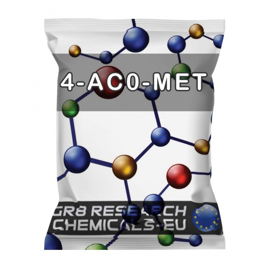 Package containing 4-AcO-MET that is available to buy, and also showing the chemical formula