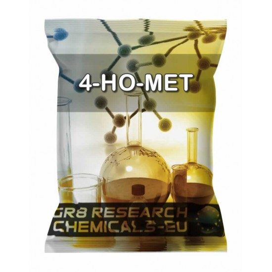 Package containing 4-HO-MET that is available to buy, and also showing the chemical formula