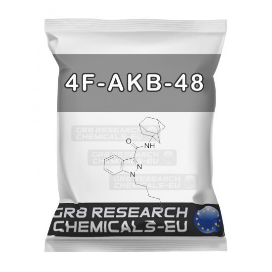 Package containing 4F-AKB-48 research chemical