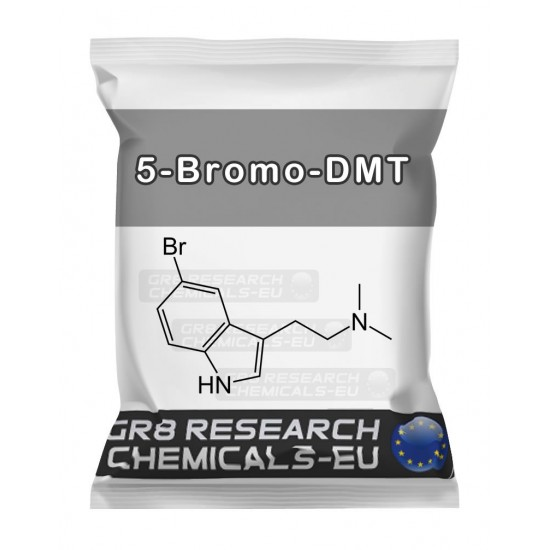 Package containing 5-Bromo-DMT research chemical