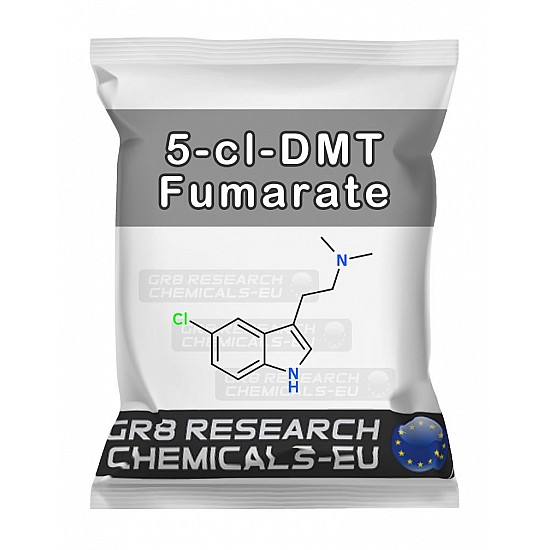 Package containing 5-cl-DMT research chemical