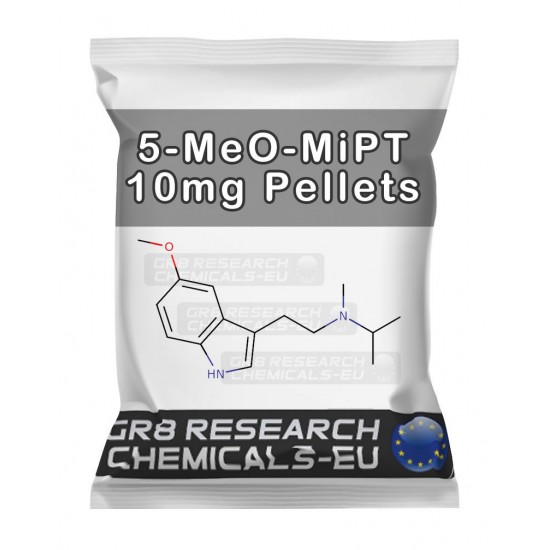 Package containing 5-MeO-MiPT 10mg Pellets research chemical