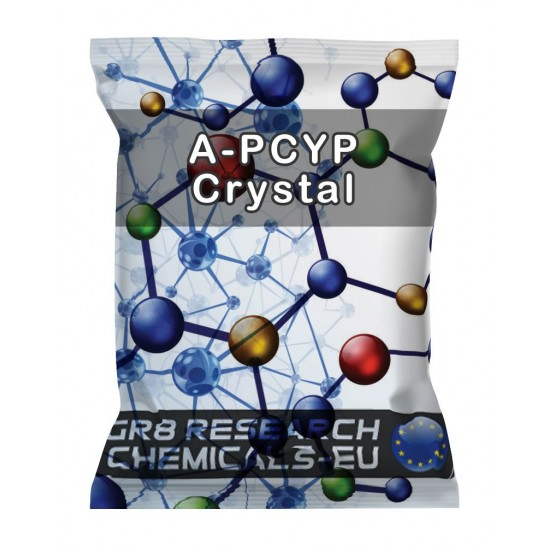 Package containing A-PCYP Crystal research chemical