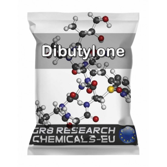 Package containing Dibutylone that is available to buy, and also showing the chemical formula