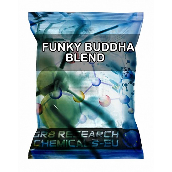 Package containing FUNKY BUDDHA BLEND research chemical