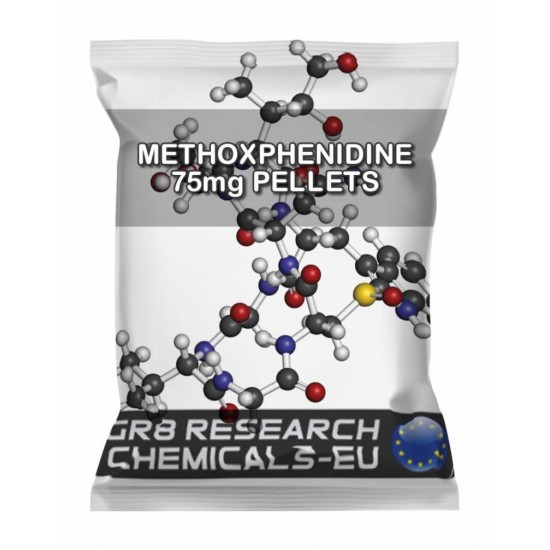 Package containing METHOXPHENIDINE 75mg PELLETS that is available to buy, and also showing the chemical formula