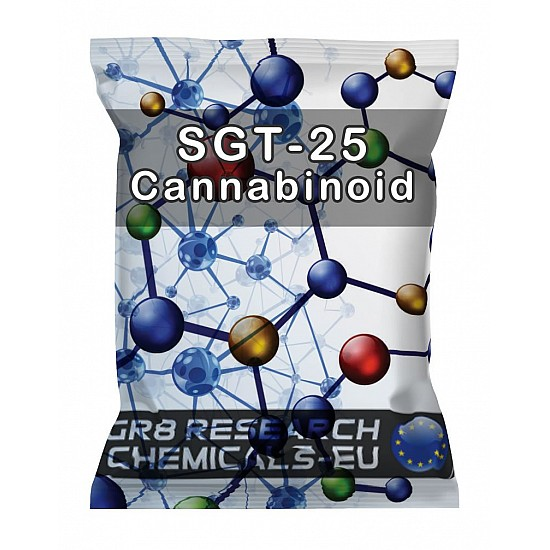 Package containing SGT-25 Cannabinoid research chemical