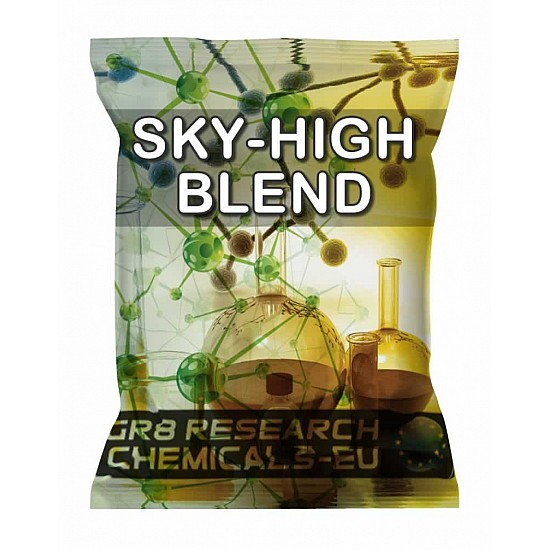 Package containing SKY HIGH BLEND research chemical